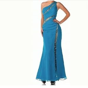 One shoulder rhinestone prom formal dress